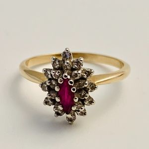 Vintage Marquise Ruby & Diamond Ring Size 7